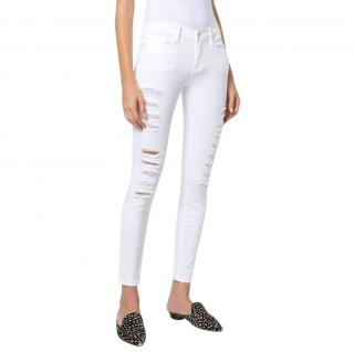 Frame White Distressed Slim Leg Jeans