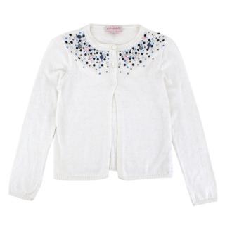 Lili Gaufrette Ivory Wool & Cotton Knit Crystals Cardigan