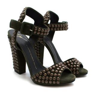 Giuseppe Zanotti Khaki Studded suede sandals
