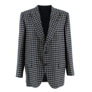 Donato Liguori Navy & Grey Gingham Cashmere Tailored Jacket