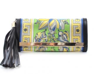 Emilio Pucci Green Silk Printed leather Trimmed Tassel Clutch