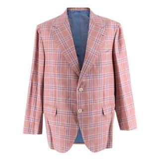 Donato Liguori Red & Blue Check Wool & Cotton blend Tailored Jacket