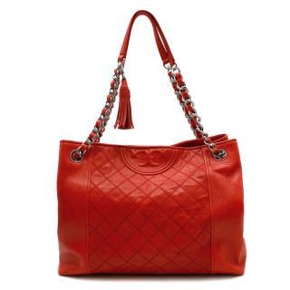 Tory Burch Red Stitch Quilt Shoulder Bag