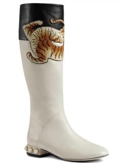 Gucci Ivory Embroidered Pearl Heel Pam Riding Boots