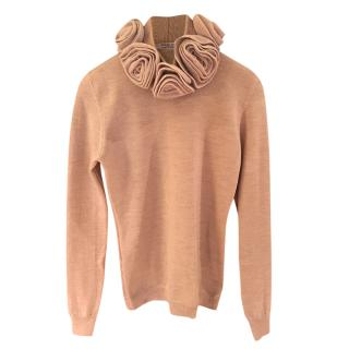 REDValentino Flower Neck Beige Jumper