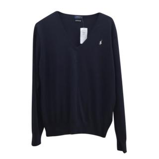 Polo Ralph Lauren Blue V-Neck Jumper