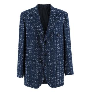 Donato Liguori Navy & White Cotton Blend Tweed Tailored Jacket
