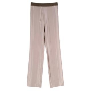 Haider Ackermann Taupe Silk Striped Texture Trousers