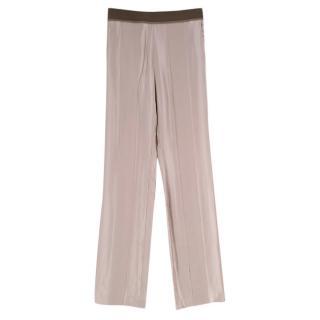 Haider Ackermann Taupe Silk Striped Texture Trousers