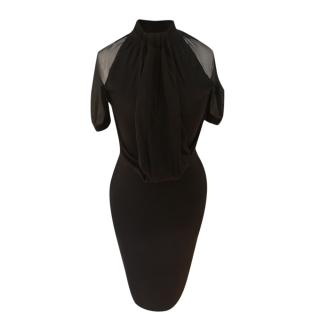 Dior Black Fitted Dress with Sheer Chiffon Panels