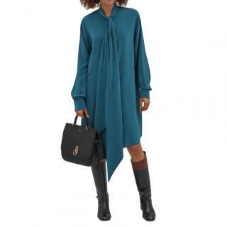 Mulberry Petrol Blue Silk Augusta Oversize Shirt Dress