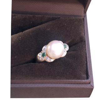 Bespoke Vintage Cultured Akoya Pearl, Emerald & Diamond 14ct Gold Ring
