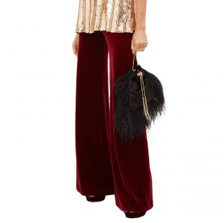 Galvan Burgundy Velvet Wide Leg Pants