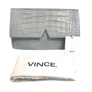 Vince Grey Croc Embossed Flap Clutch