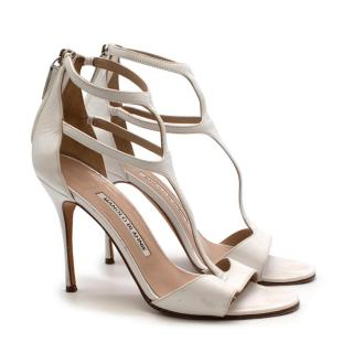 Manolo Blanhik White Leather Strappy Heeled Sandals