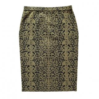 Gucci Brocade Knit Jersey Embroidered Skirt