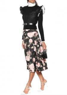 Erdem Black Elvin Floral Jersey Skirt