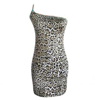 Just Cavalli Animal Print One SHoulder Beach Dress