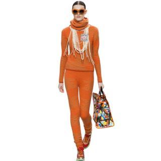 Chanel Supermarket Collection Orange Cashmere Jumper, Pants & Snood