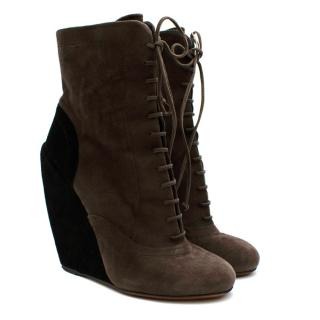 Alaia Taupe & Black Suede Wedge Ankle Boots