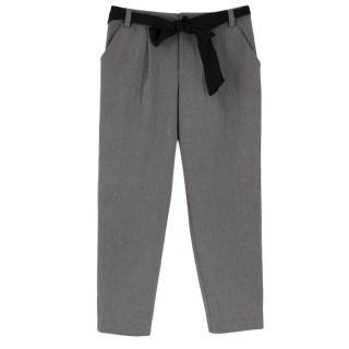 Lanvin en Bleu Grey Cotton Blend Belted Trousers