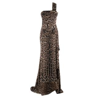 Roberto Cavalli Leopard Print One Shoulder Draped Gown
