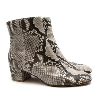 Gianvito Rossi Grey Snakeskin Low Heel Ankle Boots
