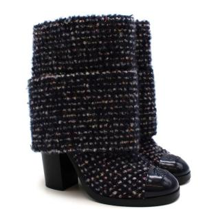 Chanel Navy & White Cashmere blend Tweed Ankle CC Boots