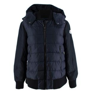 Moncler Navy Bomber Style Down Hooded Jacket