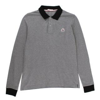 Moncler Grey Cotton Long Sleeve Polo Shirt