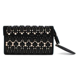 Alaia Black leather & Suede Cut-out Studded Clutch Bag
