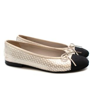 Chanel Black & Ivory Metallic Spotted Ballerina Flats