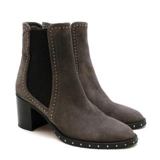 Jimmy Choo Merril 65 Grey Suede Studded Boots