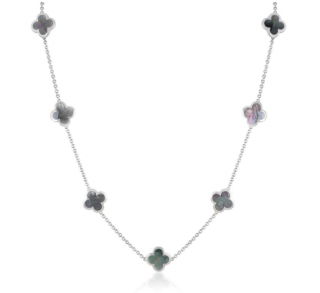 Van Cleef & Arpels White Gold Grey Mother of Pearl Alhambra Necklace