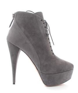 Miu Miu Grey Platform Lace-Up Ankle Boots