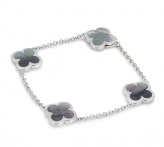 Van Cleef & Arpels White Gold Grey Mother of Pearl Alhambra Bracelet