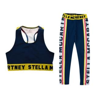 Stella McCartney Navy Logo Stripe Sports Bra & Leggings