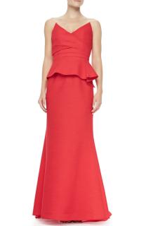 BCBG Max Azria Red Gracie Strapless Peplum Gown