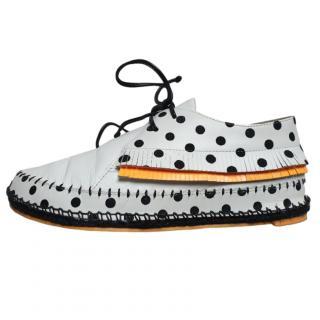 Sophia Webster white polka dot lace-up moccasins