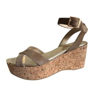 Jimmy Choo Taupe Suede Wedge Sandals