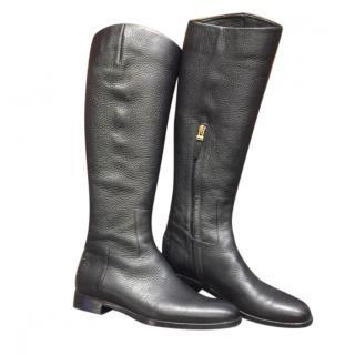 Fendi Black Leather Knee Boots