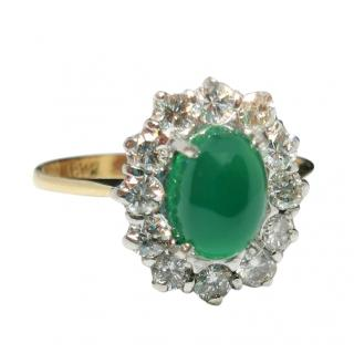 Bespoke Diamond Cluster Emerald Ring in 18ct Yellow Gold