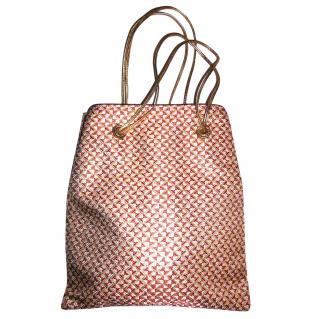 Prada Geometric Brocade Leather Tote Bag