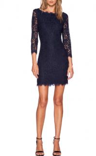 Diane Von Furstenberg Navy Zarita Lace Mini Dress