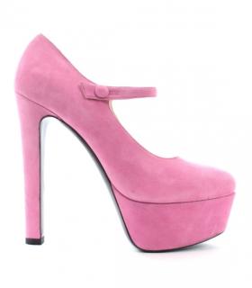 Miu Miu Pink Suede Platform Mary Janes