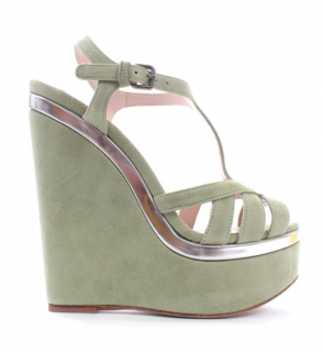 Miu Miu Suede Mint Green Platform Wedge Sandals