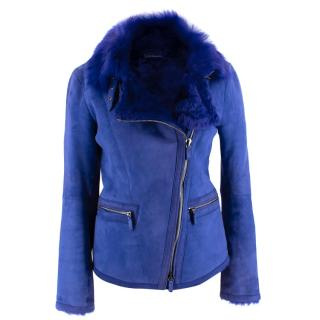 Giorgio Armani Blue Lambs Fur Lined Suede Biker Jacket