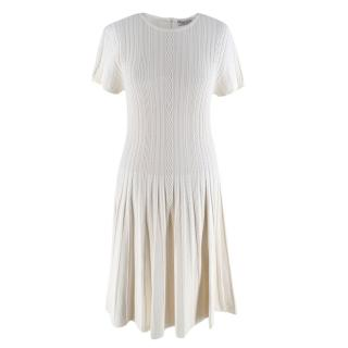 Valentino Ivory Cable Knit Short Sleeve Skater Dress