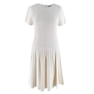 Valentino Ivory Cable Knit Short Sleeve Skater Dress