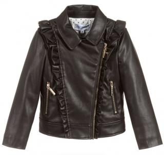Simonetta Kids Ruffled Faux Leather Jacket